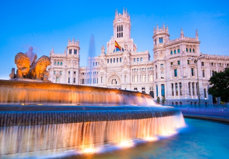 cibeles: Plaza de la Cibeles (Cybeles Square) - Central Post Office (Palacio de Comunicaciones), Madrid, Spain. Editorial