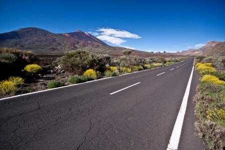 vulcano: Empty road trough national park of Teide vulcano.