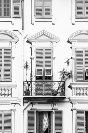 Yellow grafical vintage facade in black and white. Stock Photo - 15935378