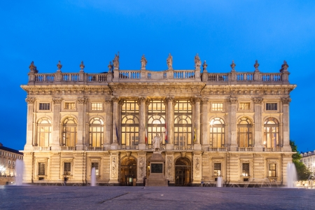 City Museum of Ancient Art in Palazzo Madama, Turin, Italy shot in the dusk.
