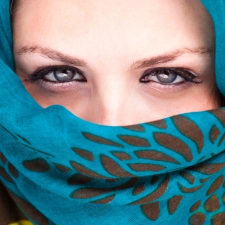 Beautiful Arab woman wearing blue scarf Stock Photo - 15978154