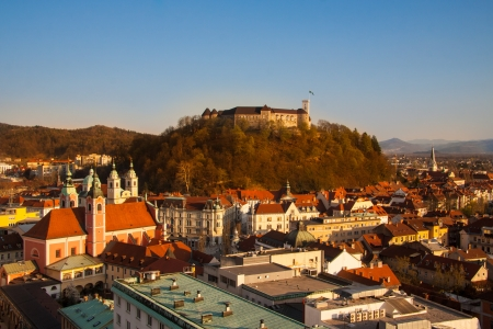 Panorama of the Slovenian capital Ljubljana at sunset photo