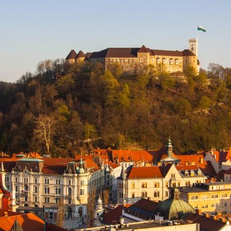 ljubljana: Panorama of the Ljubljanas castle with the midieval city cener. Ljubljana is the capital of Slovenia, Europe. Stock Photo