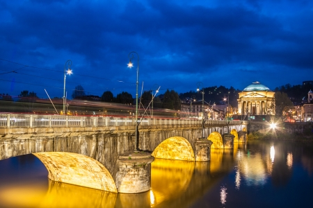 Panoramic view of bridge Vittorio Emanuele I and Chiesa della Gran Madre di Dio church in Turin, Italy, Europe. Shot in he dusk. photo