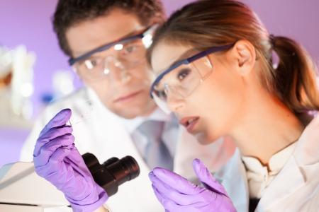 investigador cientifico: Científico joven atractiva y su director de tesis posterior mirando el portaobjetos de un microscopio en el laboratorio forense. Foto de archivo