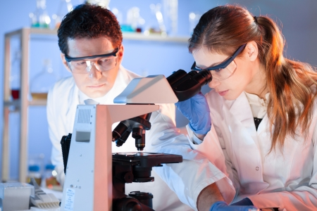 doctoral: Attractive young scientist and her post doctoral supervisor working on a project in the forensic laboratory.