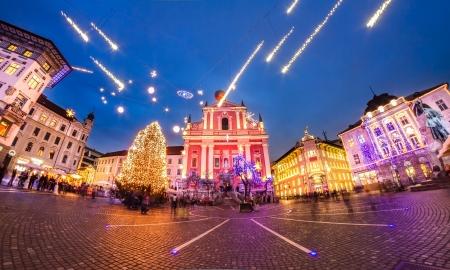 Romantic Ljubljanas city center  decorated for Christmas fairytale. Preserens square, Ljubljana, Slovenia, Europe.