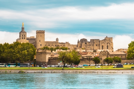 rhone: Important medieval city of Avignon, situated on the left bank of the Rhone river. Provence, France, Europe.  It was the seat of the Papacy from 1309 until 1377 in the time of Pope Clement V.