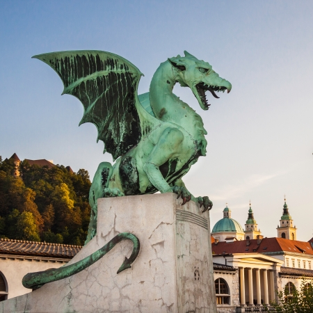 Famous Dragon bridge (Zmajski most), symbol of Ljubljana, capital of Slovenia, Europe. Stock Photo - 19920202