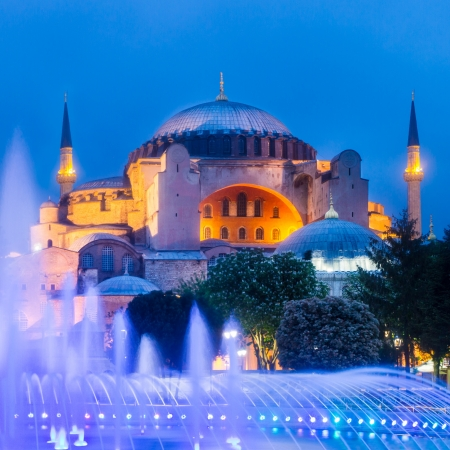 Hagia Sophia, former Orthodox patriarchal basilica  church , later a mosque, and now a museum as seen from Sultanahmet Park at dusk ; Istanbul, Turkey  photo