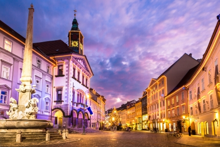 Romantic Ljubljanas city center, the capital of Slovenia, Europe. photo
