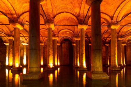 The Basilica Cistern (Turkish: Yerebatan Sarayı - Sunken Palace, or Yerebatan Sarnıcı - Sunken Cistern), is the largest of several hundred ancient cisterns that lie beneath the city of Istanbul (formerly Constantinople), Turkey.
