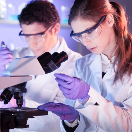 laboratory glass: Attractive young scientist and her post doctoral supervisor working on a project in the life science laboratory.