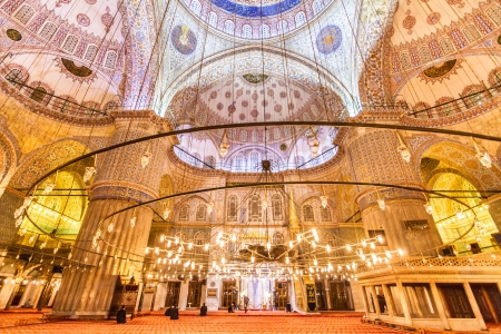 Interior of the Sultanahmet Mosque (Blue Mosque) in Istanbul, Turkey photo