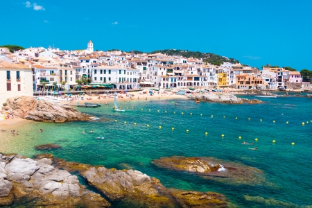 whitewashed: Calella de Palafrugell, traditional whitewashed fisherman village and a popular travel and holiday destination on Costa Brava, Catalonia, Spain.