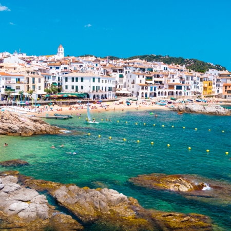 beaches of spain: Calella de Palafrugell, traditional whitewashed fisherman village and a popular travel and holiday destination on Costa Brava, Catalonia, Spain.
