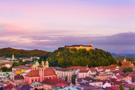 ljubljana: Panorama of the Slovenian capital Ljubljana at sunset; Slovenia, Europe. Stock Photo