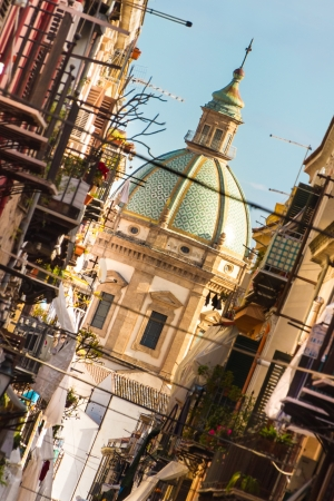 palermo   italy: View at the church of San Matteo located in heart of Palermo, Italy, Europe;  tarditional Italian medieval city center with typical narrow residential street  Stock Photo