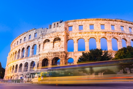 amphitheater: The Roman Amphitheater of Pula, Croatia shot at dusk  It was constructed in 27 - 68 AD and is among the six largest surviving Roman arenas in the World and best preserved ancient monument in Croatia