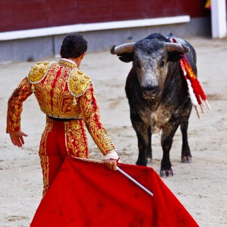 bull fight: MADRID - JUNE 25: Novilladas in Las Ventas. Novillero: Francisco Montiel. Bulfighting has been prohibited in Catalunia since 2011 for animal torturing. June 25, 2011 in Madrid (Spain) Editorial