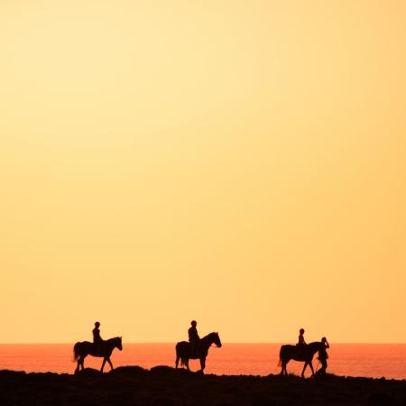 caballo de mar: Siluetas de los jinetes de la costa.
