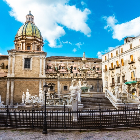 In the heart of Palermo\'s loveliest square, Piazza Pretoria,\ stands this magnificent fountain, Fontana Pretoria, work of the\ Florentine sculptor Francesco Camilliani. Palermo, Sicily,\ Italy.