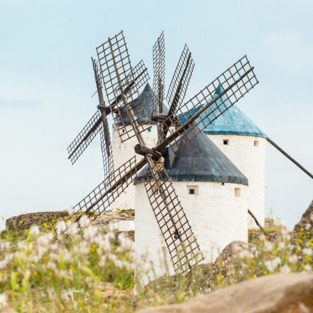 Vintage widnmills in the mainland of La Mancha, Consuegra, Spain. photo