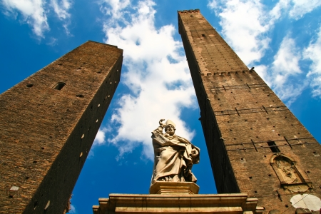architectural architectonic: Asinelli Tower, one of the main sights in Bologna, Italy