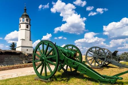 Ausstellung des Ersten Weltkrieges arillery an den Wänden der Festung Kalemegdan in Belgrad, die Hauptstadt Serbiens. Kalemegdan-Park ist der größte Park und die wichtigste historische Denkmal in Belgrad.