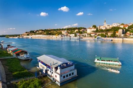 Beautiful view of river Sava and Kalemegdan fortres in Belgrade, Serbia, Yugoslavia.