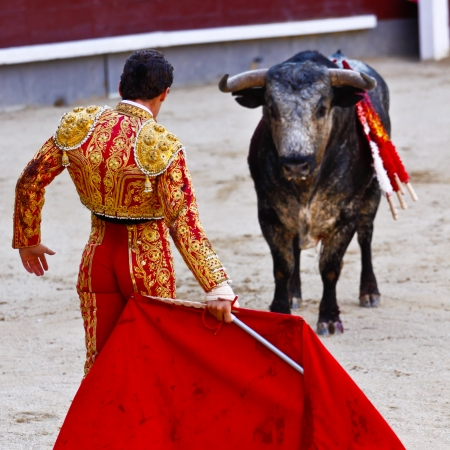 catalunia: Traditional corrida - bullfighting in spain. Bulfighting has been prohibited in Catalunia since 2011 for animal torturing.