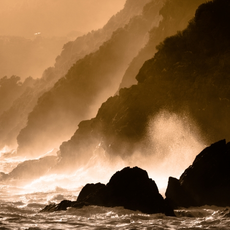 Dramatic seascape in Mediterranean sea in Chinque Terre national park in Italy. Stock Photo - 22636106