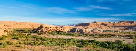massa: Ait Benhaddou,fortified city, kasbah or ksar, along the former caravan route between Sahara and Marrakesh in present day Morocco. It is situated in Souss Massa Draa on a hill along the Ounila River. Stock Photo