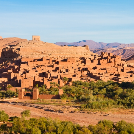 high desert: Ait Benhaddou,fortified city, kasbah or ksar, along the former caravan route between Sahara and Marrakesh in present day Morocco. It is situated in Souss Massa Draa on a hill along the Ounila River. Editorial