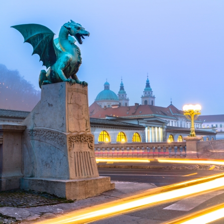 Famous Dragon bridge (Zmajski most), symbol of Ljubljana, capital of Slovenia, Europe. photo