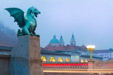 Famous Dragon bridge  Zmajski most , symbol of Ljubljana, capital of Slovenia, Europe  photo