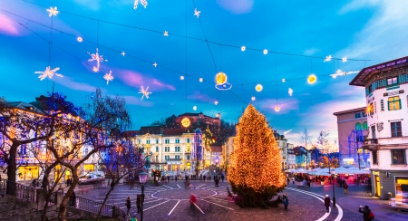 Romantic Ljubljanas city center  decorated for Christmas holiday. Preserens square, Ljubljana, Slovenia, Europe.