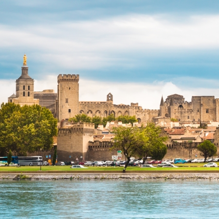 avignon: Important medieval city of Avignon, situated on the left bank of the Rhone river. Provence, France, Europe.  It was the seat of the Papacy from 1309 until 1377 in the time of Pope Clement V.