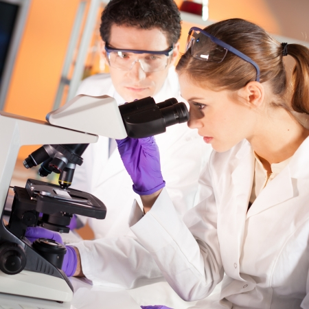 doctoral: Attraente giovane scienziato e il suo supervisore post-dottorato guardando il vetrino in laboratorio forense.