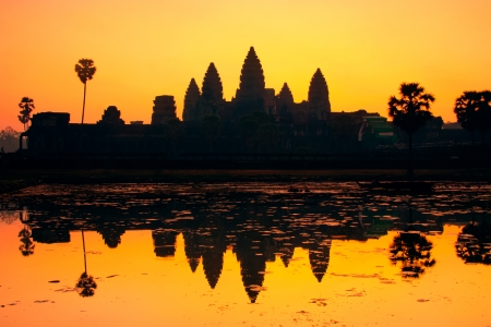 heritage site: Colorful sunrise at Angkor Wat, Siem Reap, Cambodia, Asia.