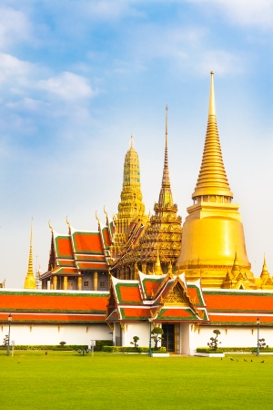 Thailand, Bangkok, The Wat Phra Kaew ( Temple of the Emerald Buddha), famous for golden pagoda.