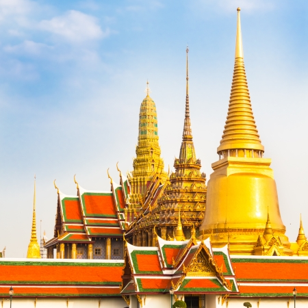 Thailand, Bangkok, The Wat Phra Kaew ( Temple of the Emerald Buddha), famous for golden pagoda. photo