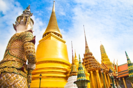 regarded: The Wat Phra Kaew, Temple of the Emerald Buddha, full official name Wat Phra Si Rattana Satsadaram, is regarded as the most sacred Buddhist temple (wat) in Bangkok, Thailand. Stock Photo