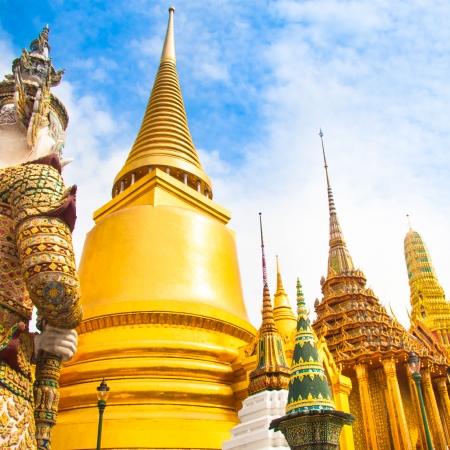 The Wat Phra Kaew, Temple of the Emerald Buddha, full official name Wat Phra Si Rattana Satsadaram, is regarded as the most sacred Buddhist temple (wat) in Bangkok, Thailand. photo