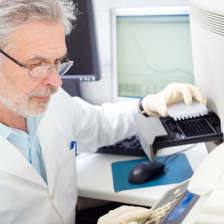 proposes: Life science researcher  performing a genotyping testing which enables personalized medicine. PM is a medical model that proposes the customization of healthcare.