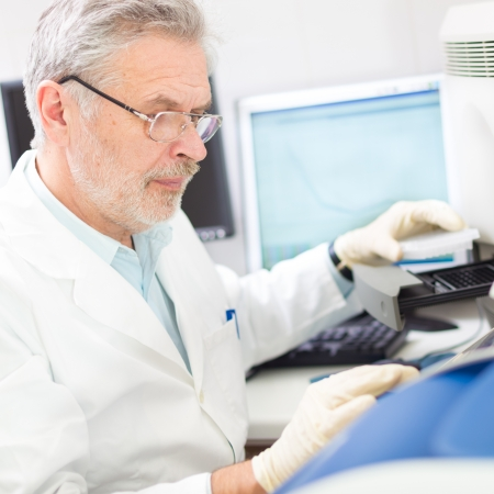 enables: Life science researcher  performing a genotyping testing which enables personalized medicine. PM is a medical model that proposes the customization of healthcare.