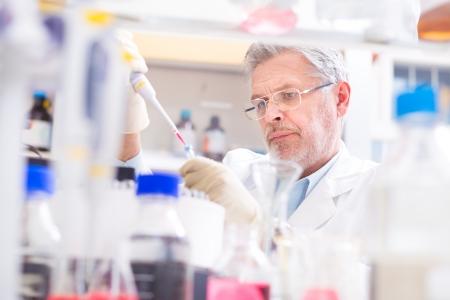 生命科学者の研究室で研究します。生命科学構成科学の生きている有機体の科学的研究に関連する分野: 微生物、植物、動物やヒトの細胞、DNA の遺 写真素材