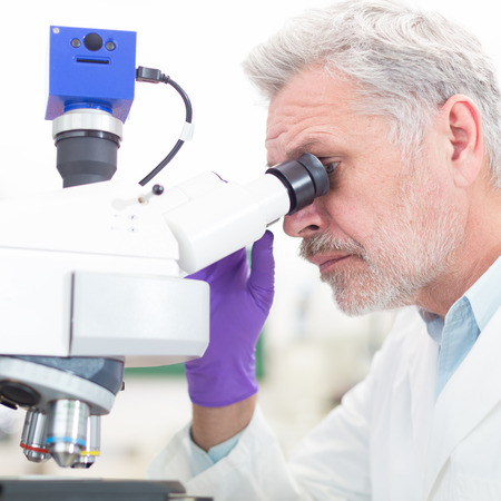 Senior head scientist  microscoping in the life science research laboratory ( diagnostics, biochemistry, pharmacy, genetics, forensics, microbiology, pharmacogenetics) photo