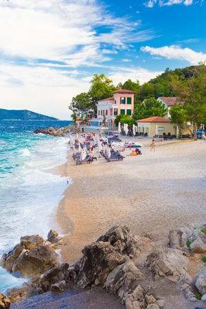 Moscenicka Draga ( is municipality in Primorje-Gorski Kotar County, Croatia. Centre of the municipality is the former fishing village which is nowadays a tourist resort with two beaches, small marina and walking paths. Stock Photo