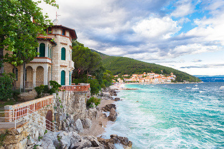 mediterranean houses: Moscenicka Draga ( is municipality in Primorje-Gorski Kotar County, Croatia. Centre of the municipality is the former fishing village which is nowadays a tourist resort with two beaches, small marina and walking paths. Stock Photo